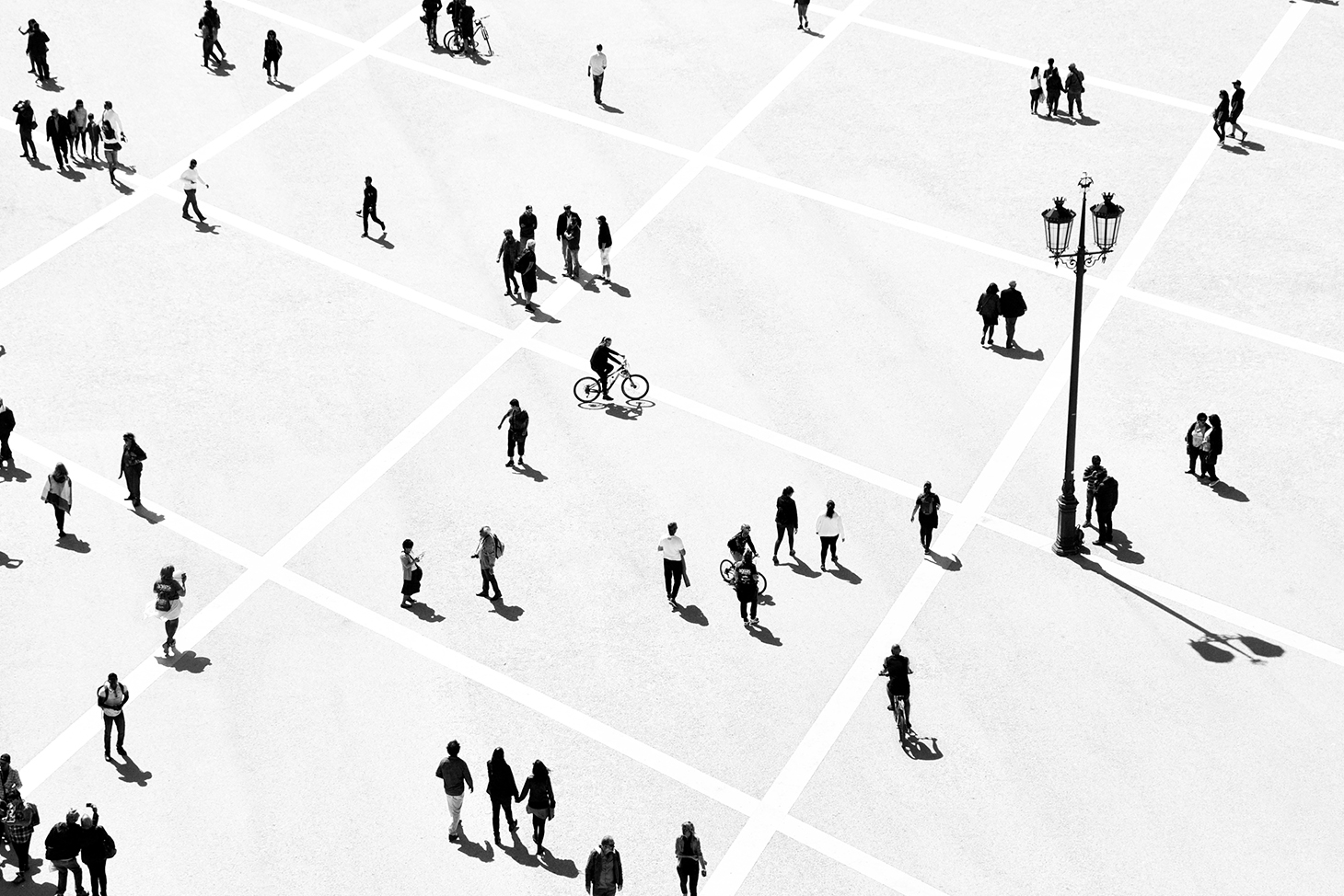 Aerial people in square